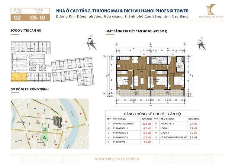 Bán chung cư đường Kim Đồng căn 3 phòng ngủ 92.6 m2, TP Cao Bằng
