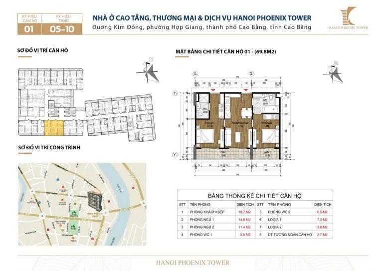 Căn số 1 diện tích 69,8m2 – chung cư Cao Bằng