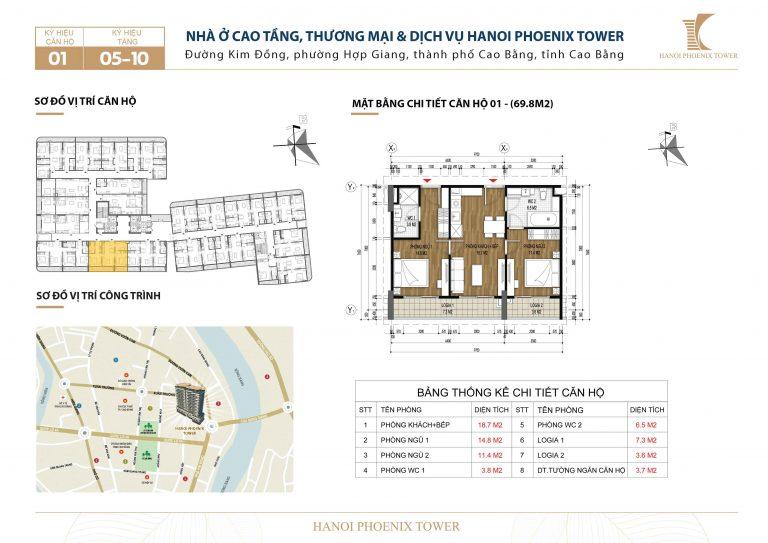 Căn 2 PN, diện tích 69.8m2 Chung cư Hanoi Phoenix Tower